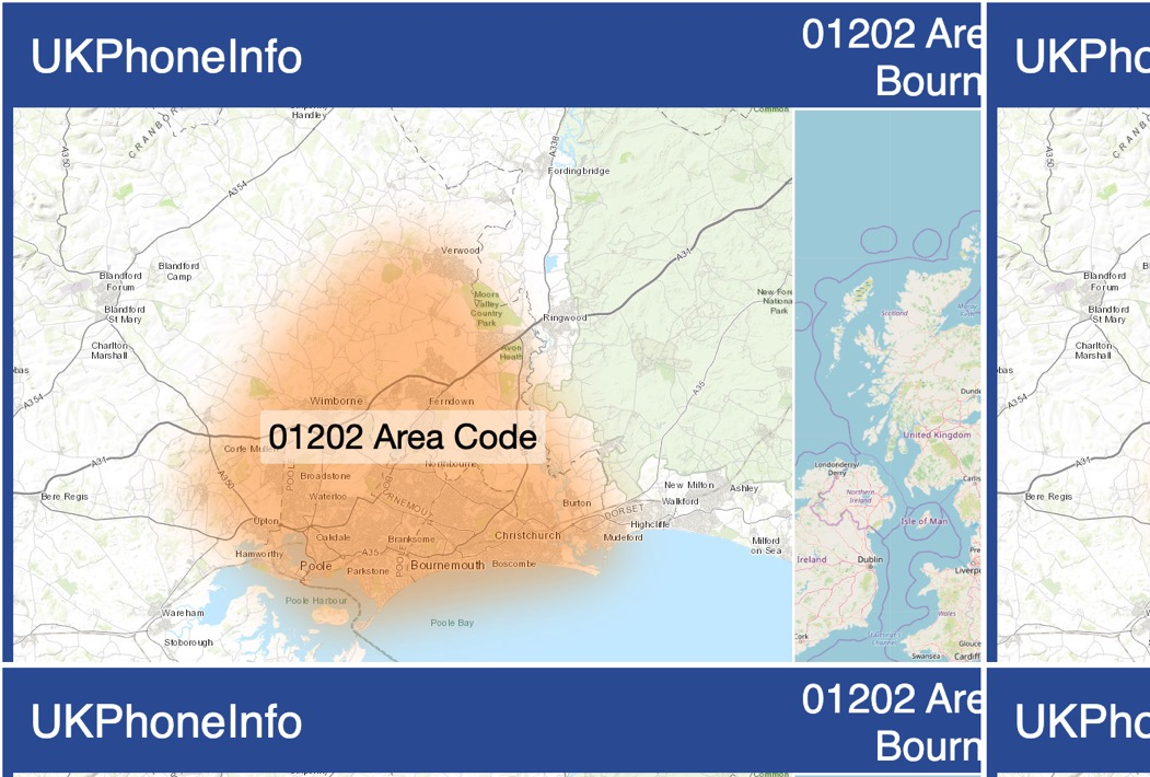 Map of the 01202 area code