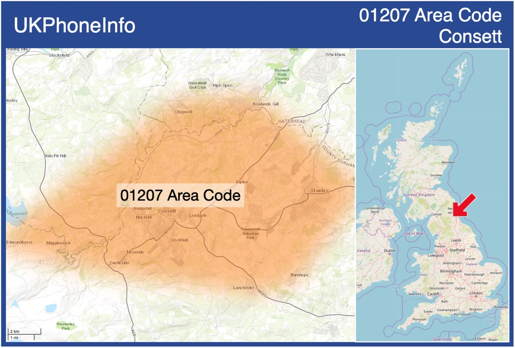 Map of the 01207 area code
