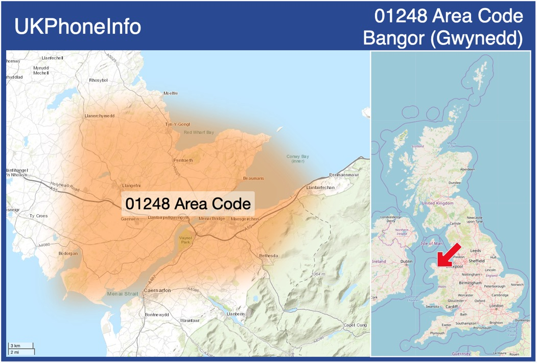 Map of the 01248 area code