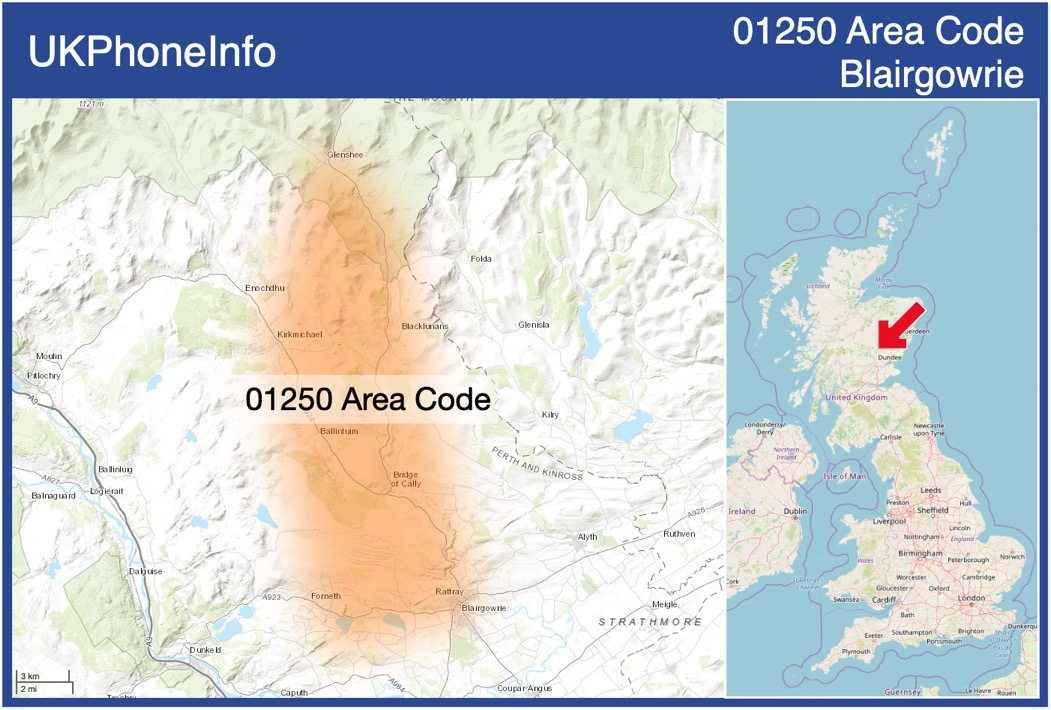 Map of the 01250 area code