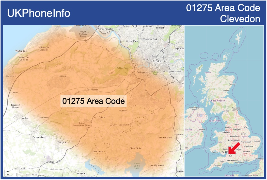 Map of the 01275 area code