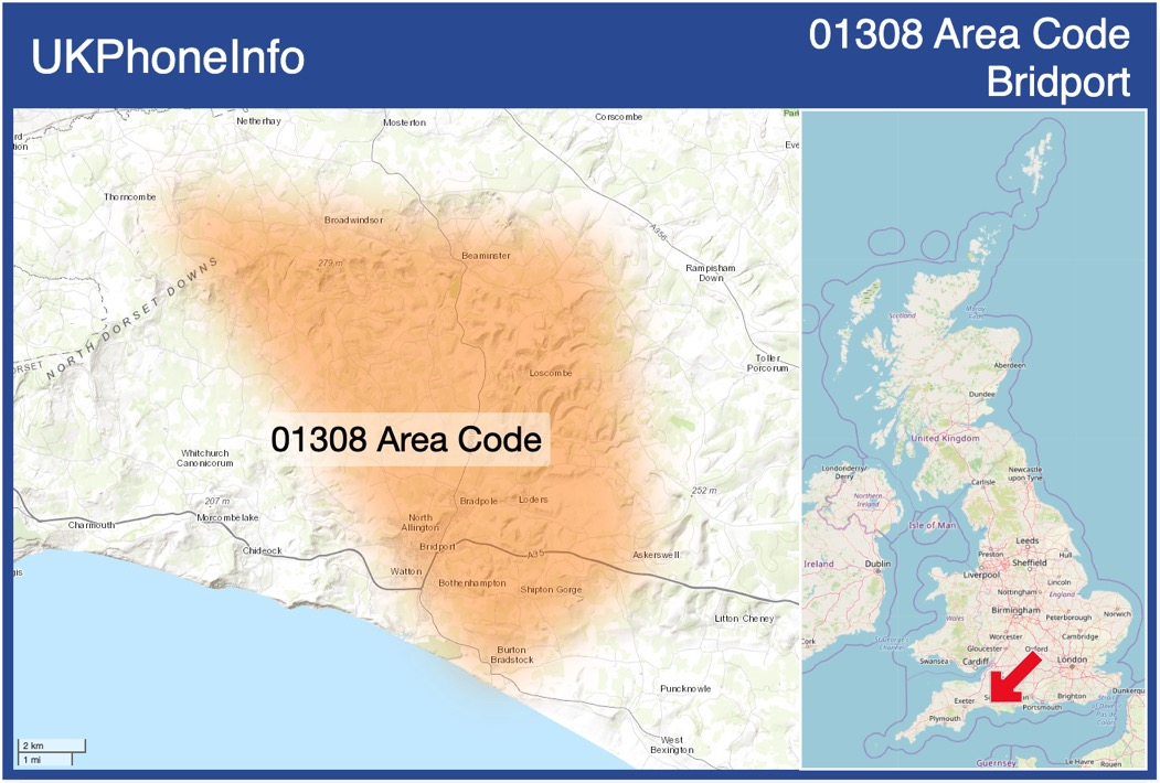 Map of the 01308 area code