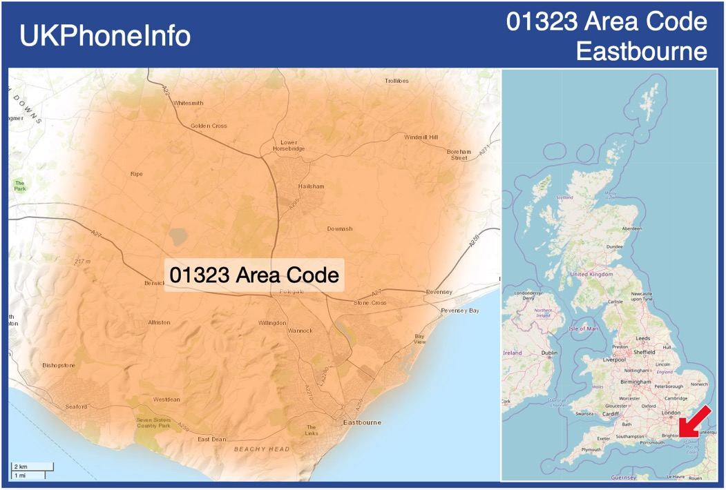 Map of the 01323 area code