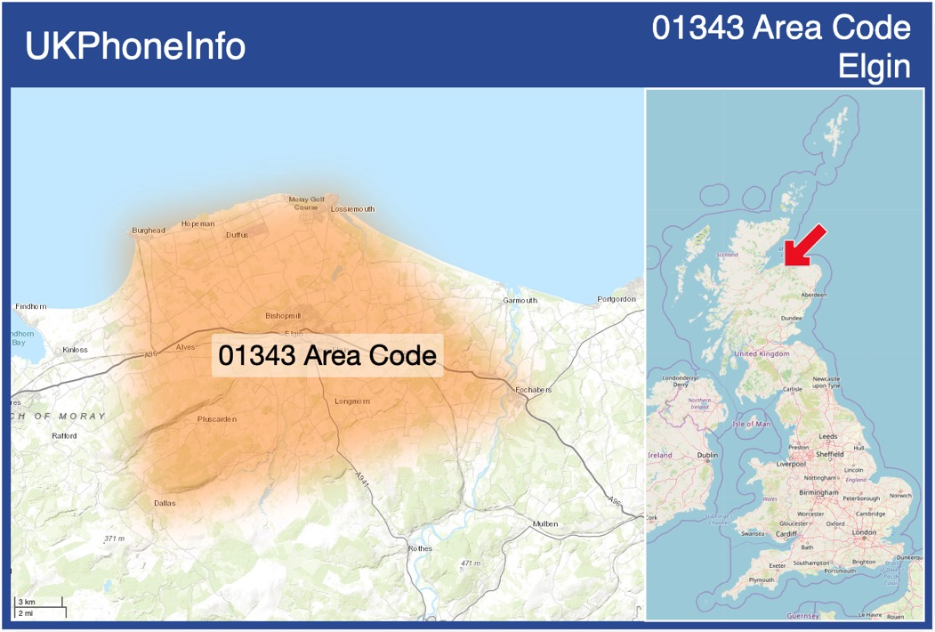 Map of the 01343 area code
