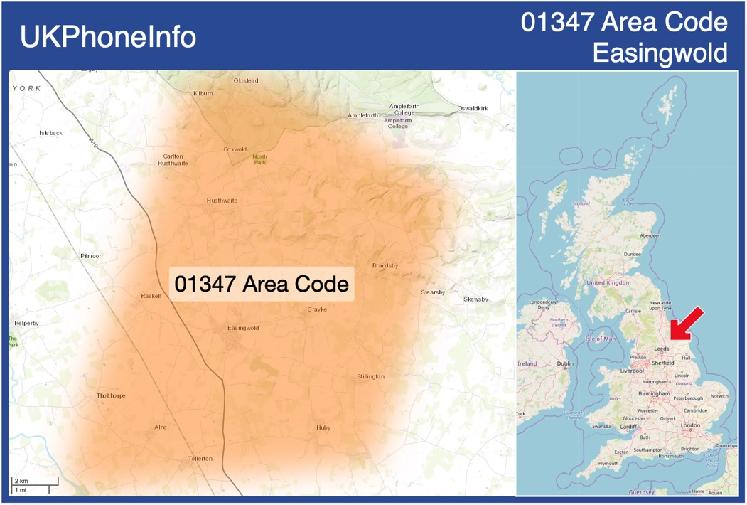 Map of the 01347 area code
