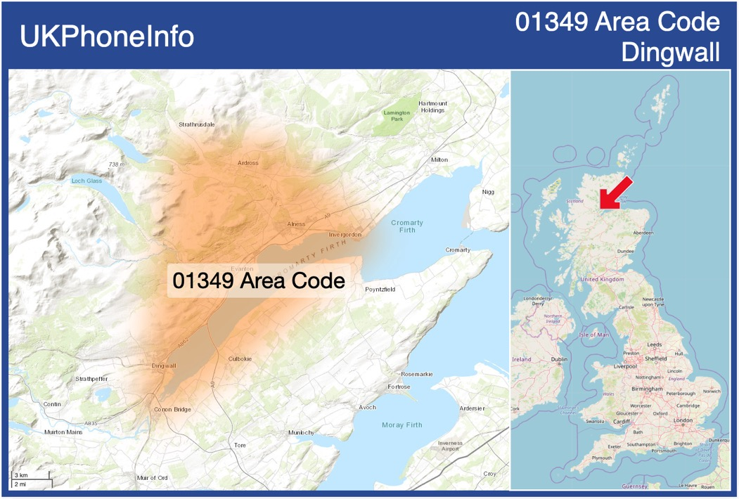 Map of the 01349 area code