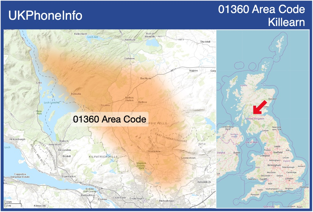 Map of the 01360 area code