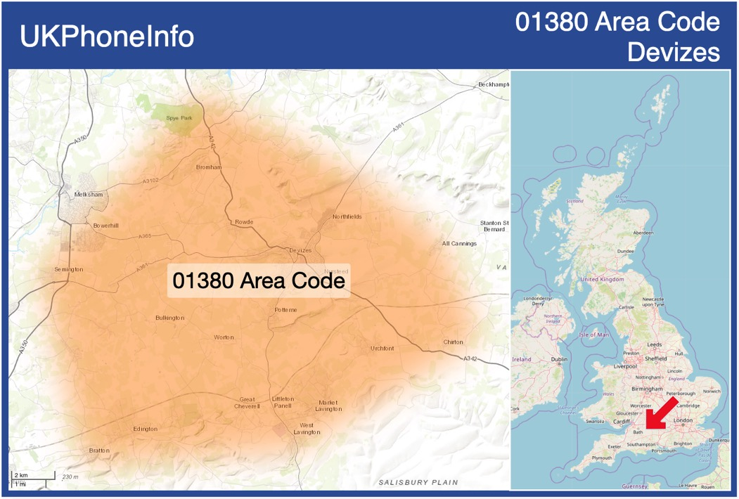 Map of the 01380 area code