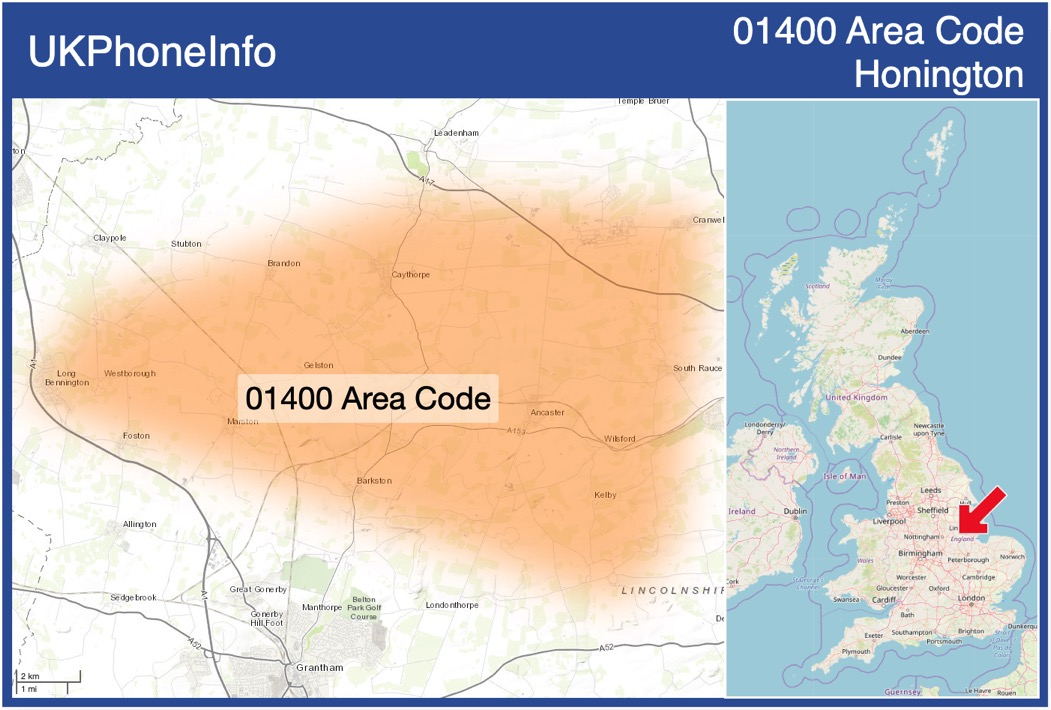 Map of the 01400 area code