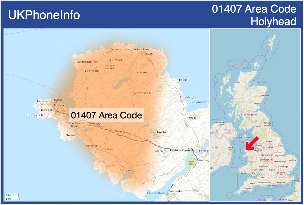 Map of the 01407 area code