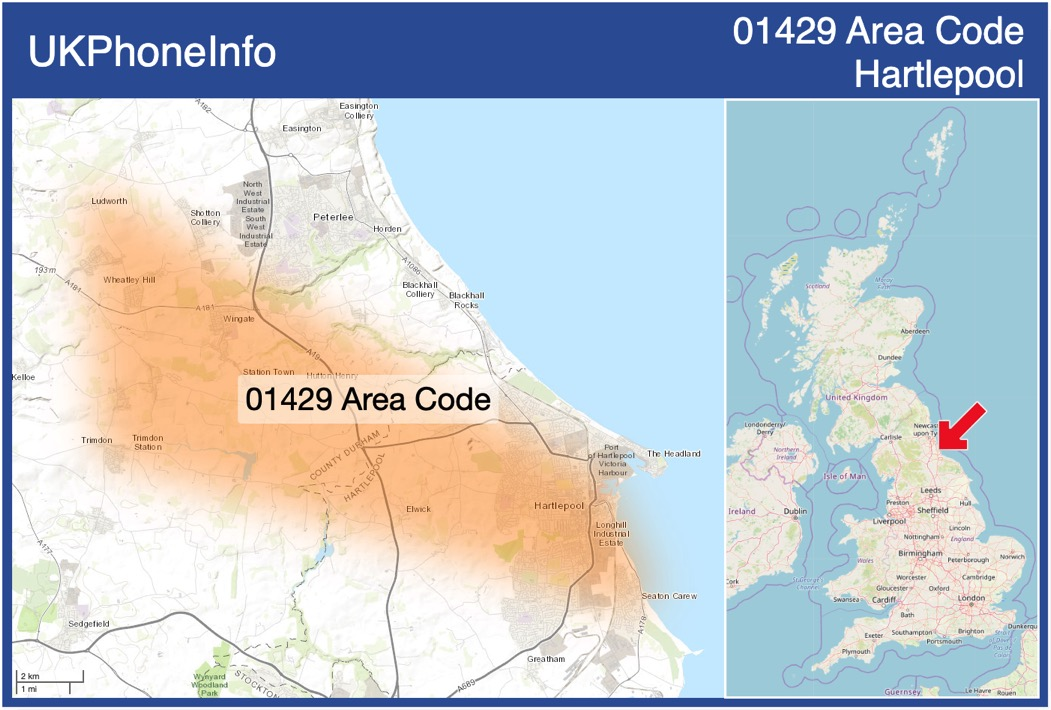 Map of the 01429 area code