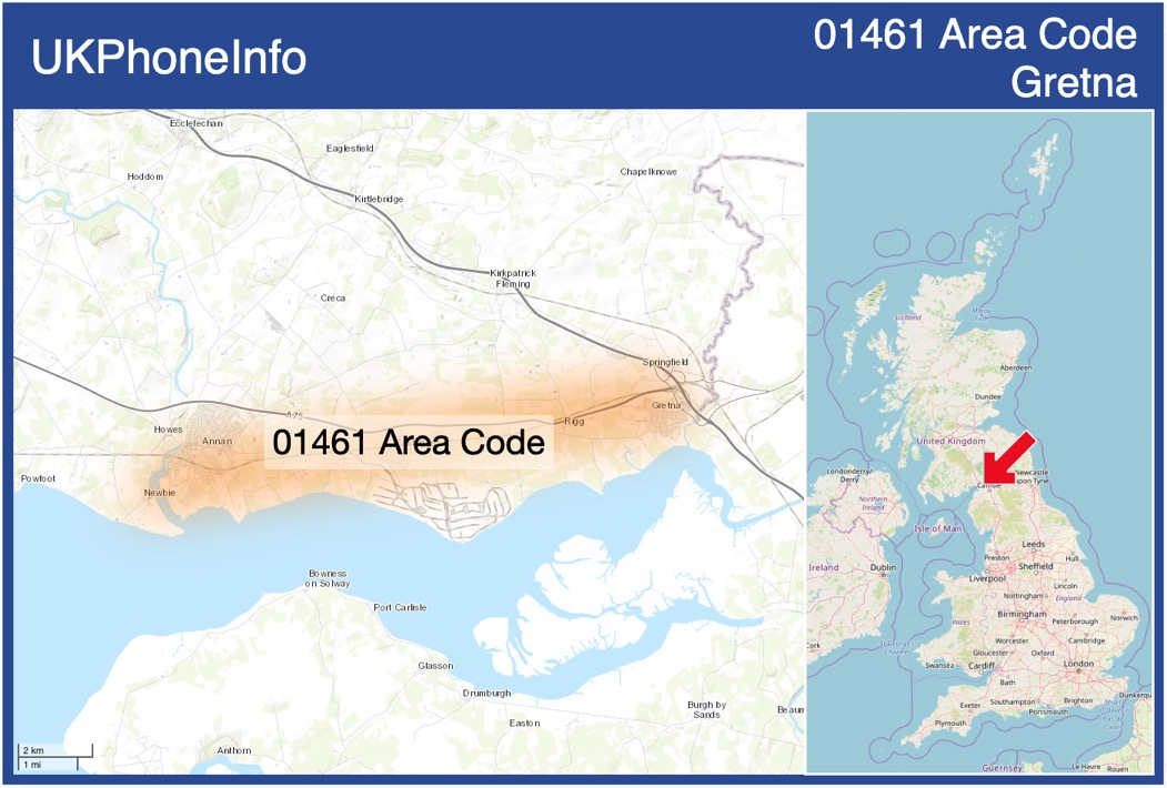 Map of the 01461 area code