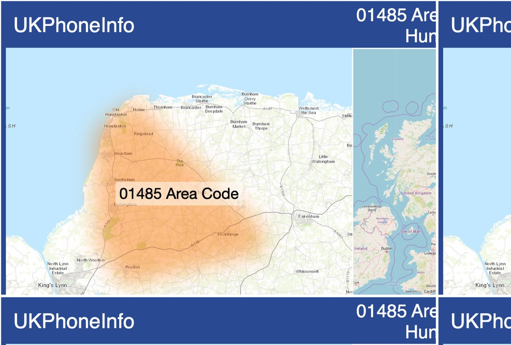 Map of the 01485 area code