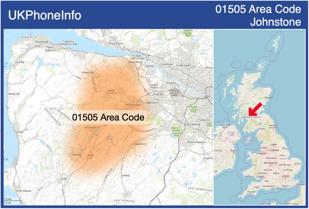 Map of the 01505 area code