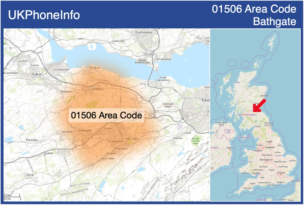 Map of the 01506 area code