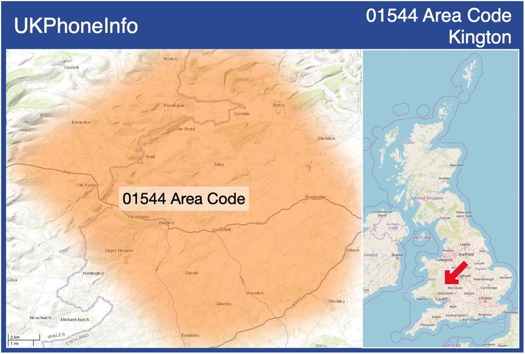 Map of the 01544 area code