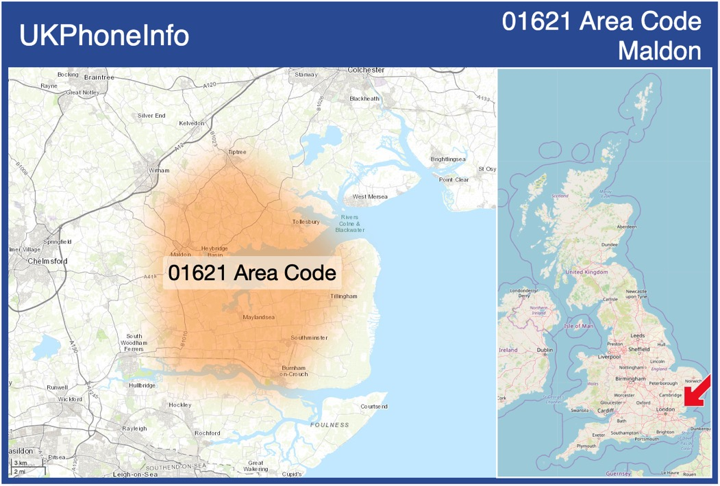 Map of the 01621 area code