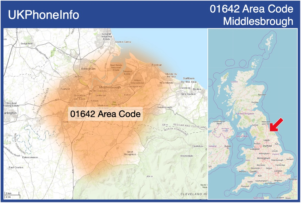 Map of the 01642 area code