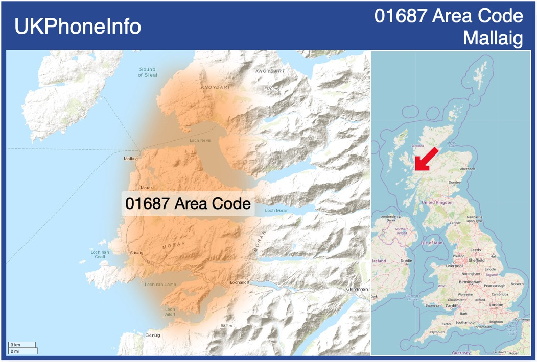 Map of the 01687 area code