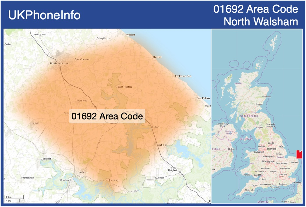 Map of the 01692 area code