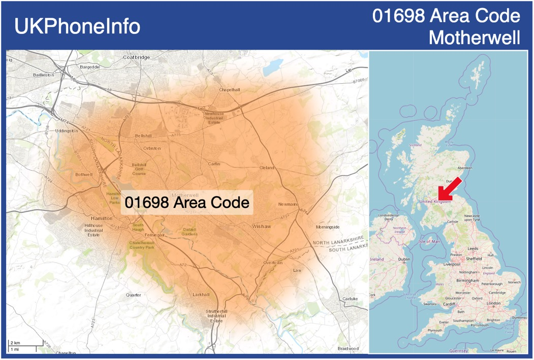 Map of the 01698 area code