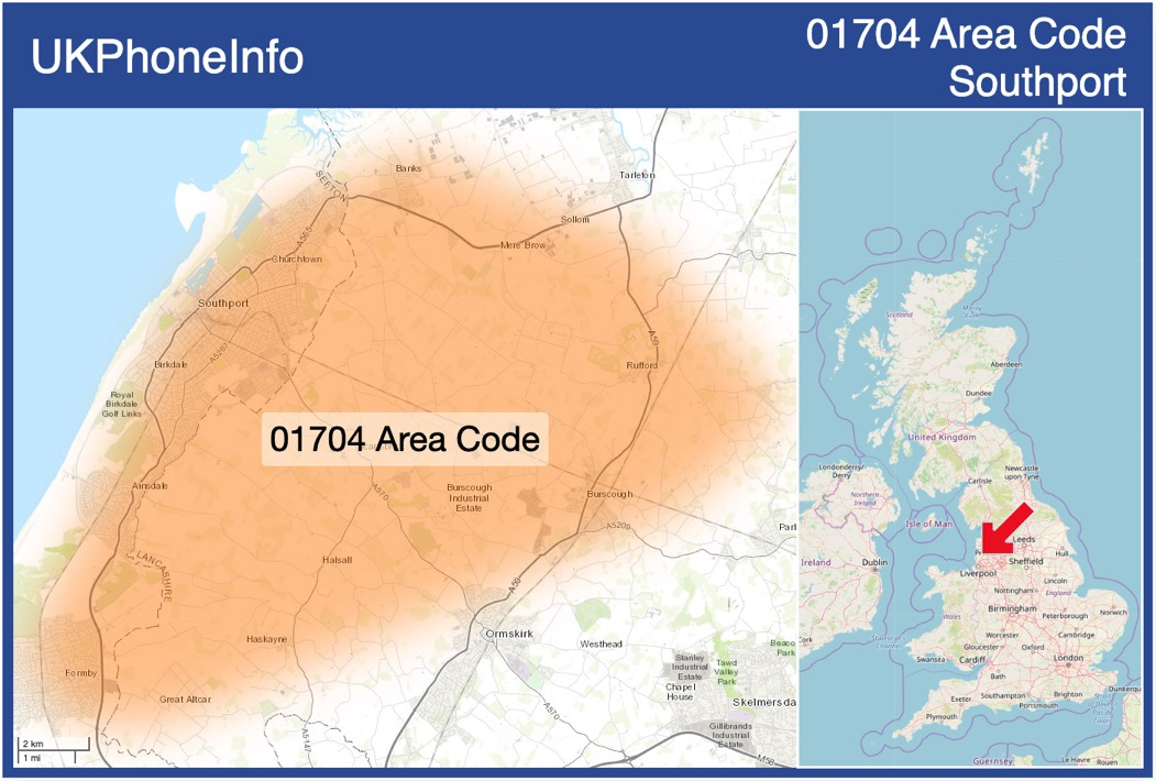 Map of the 01704 area code