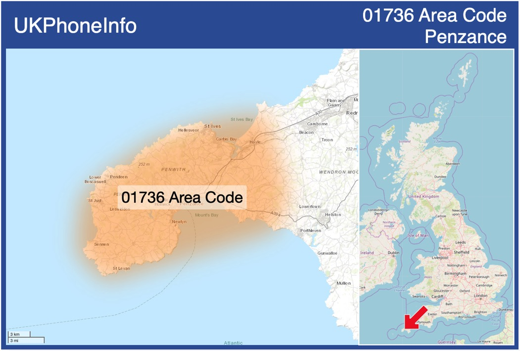 Map of the 01736 area code