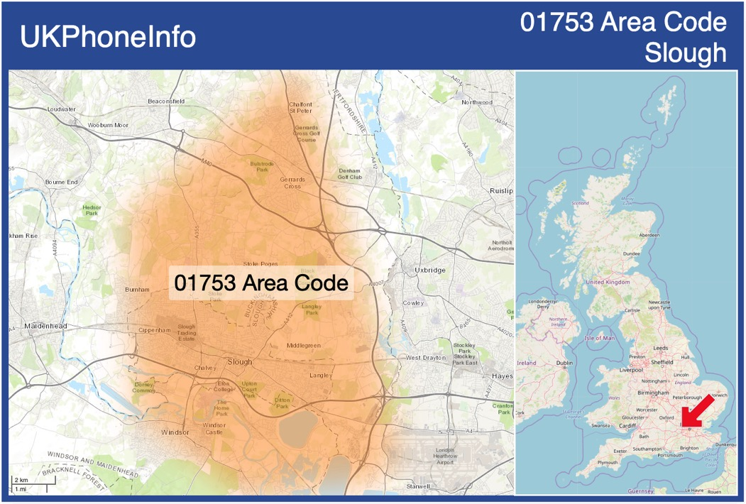 Map of the 01753 area code