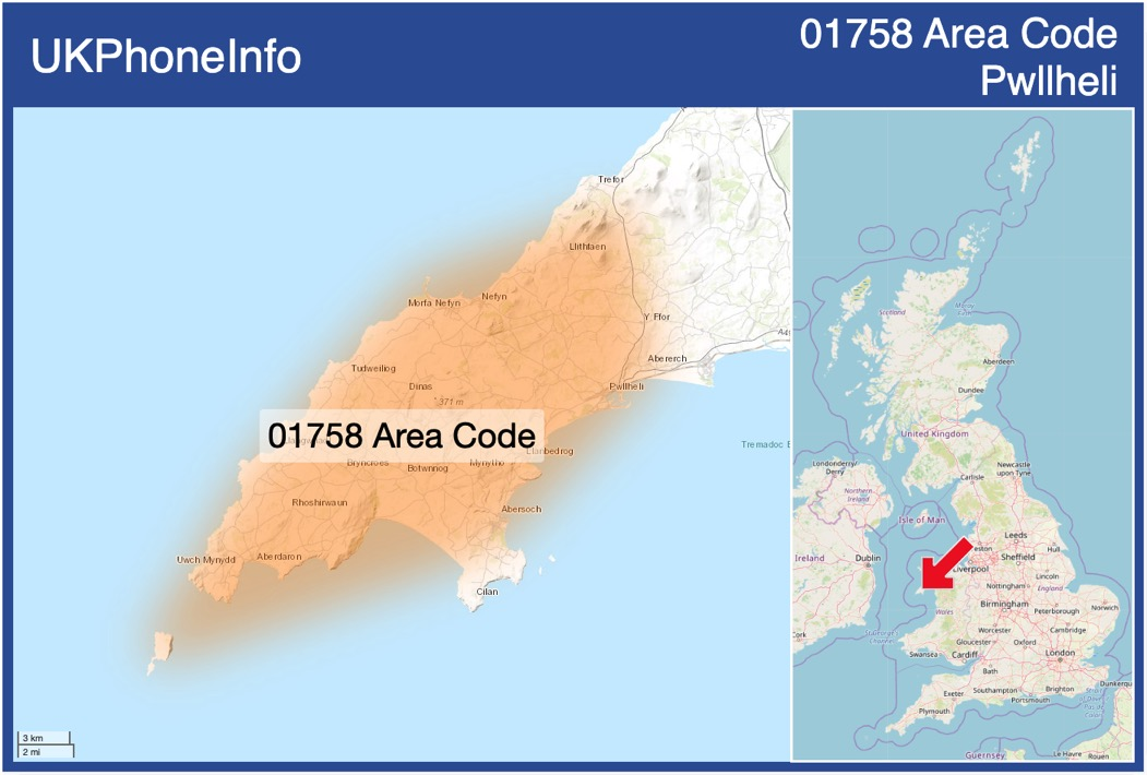 Map of the 01758 area code