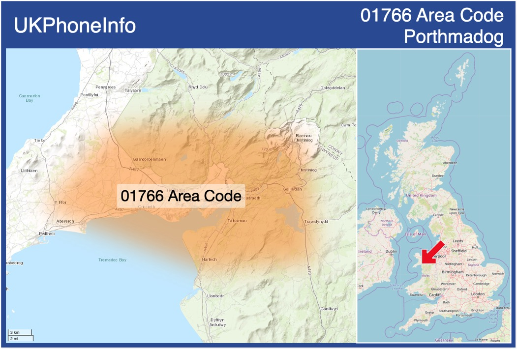 Map of the 01766 area code