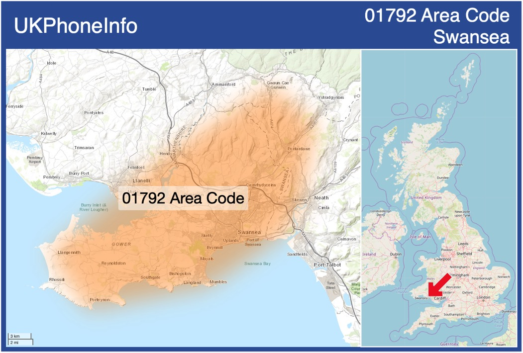 Map of the 01792 area code