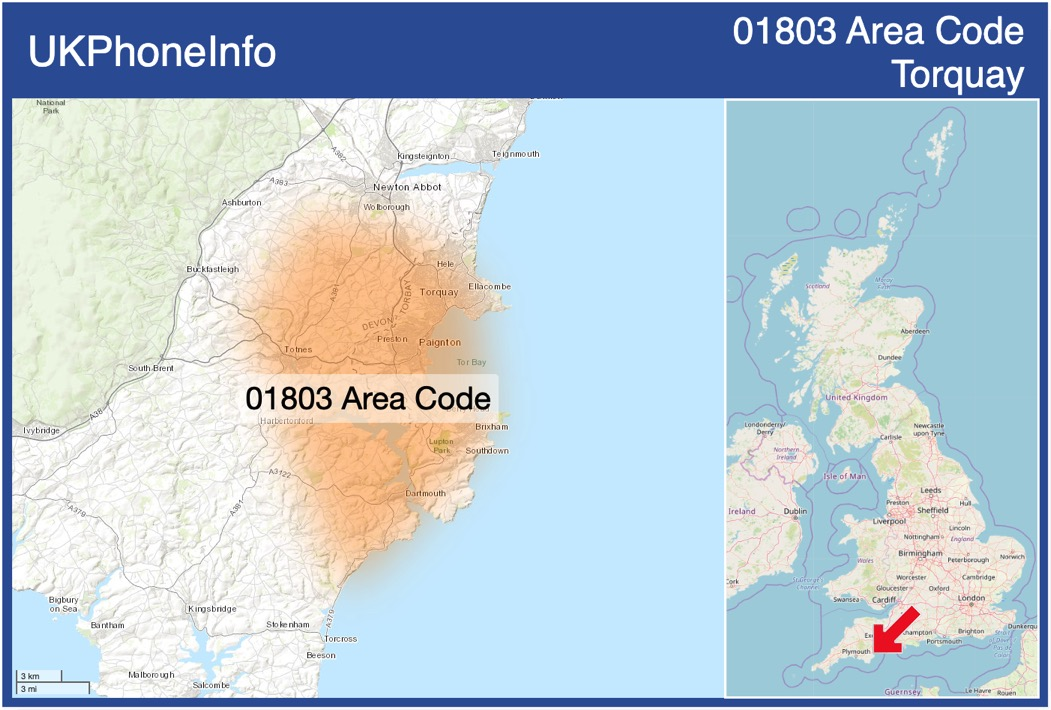 Map of the 01803 area code