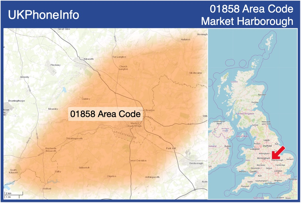 Map of the 01858 area code