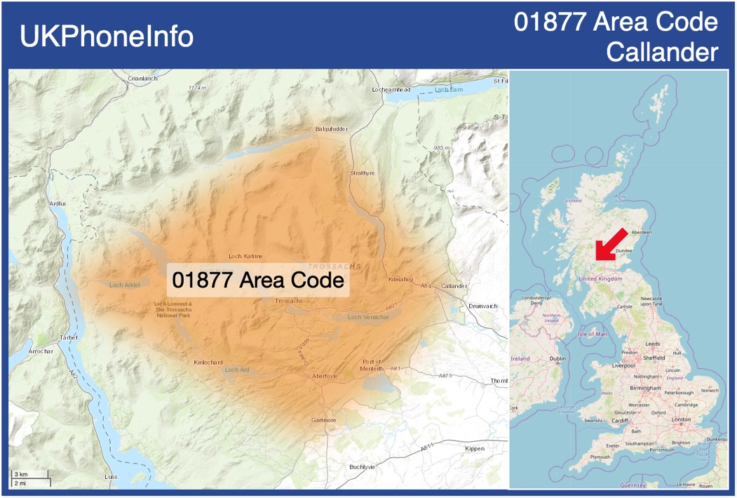 Map of the 01877 area code