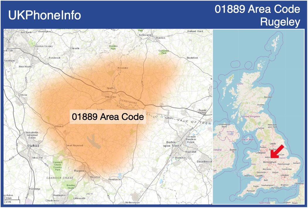 Map of the 01889 area code