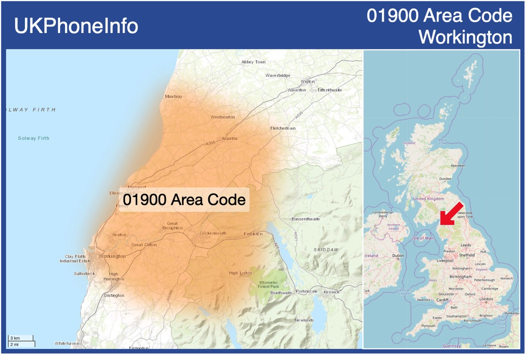 Map of the 01900 area code