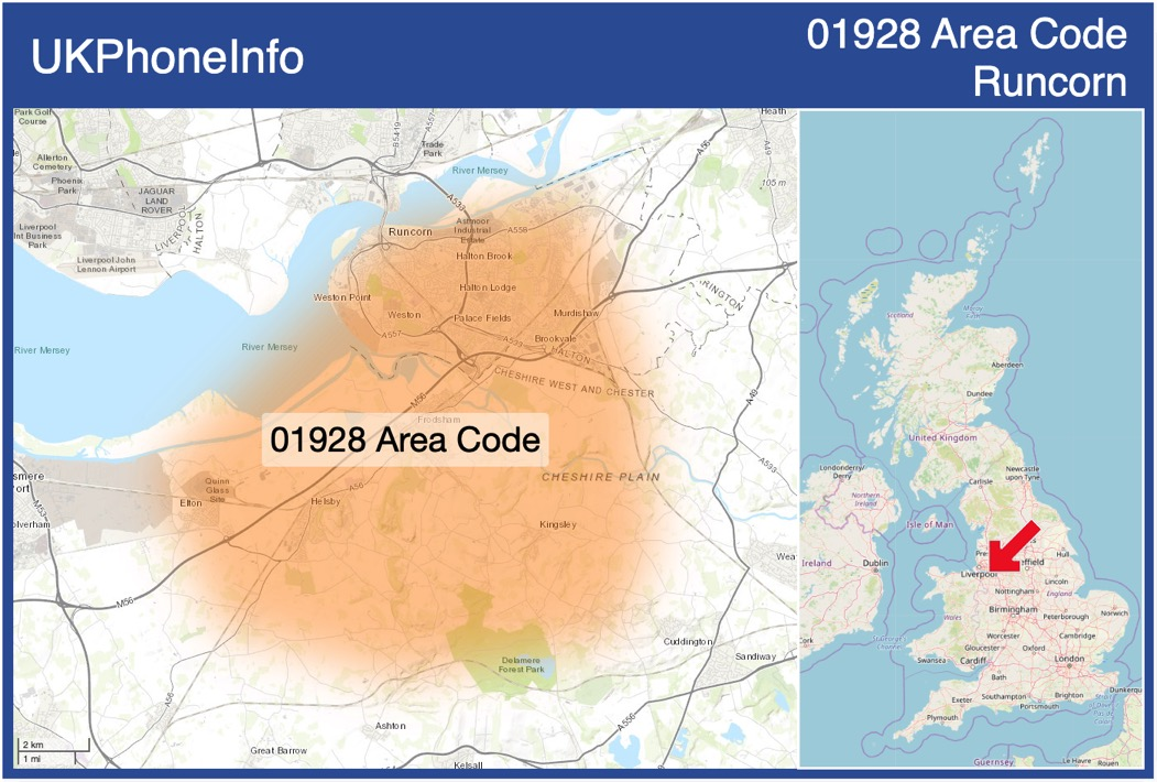 Map of the 01928 area code