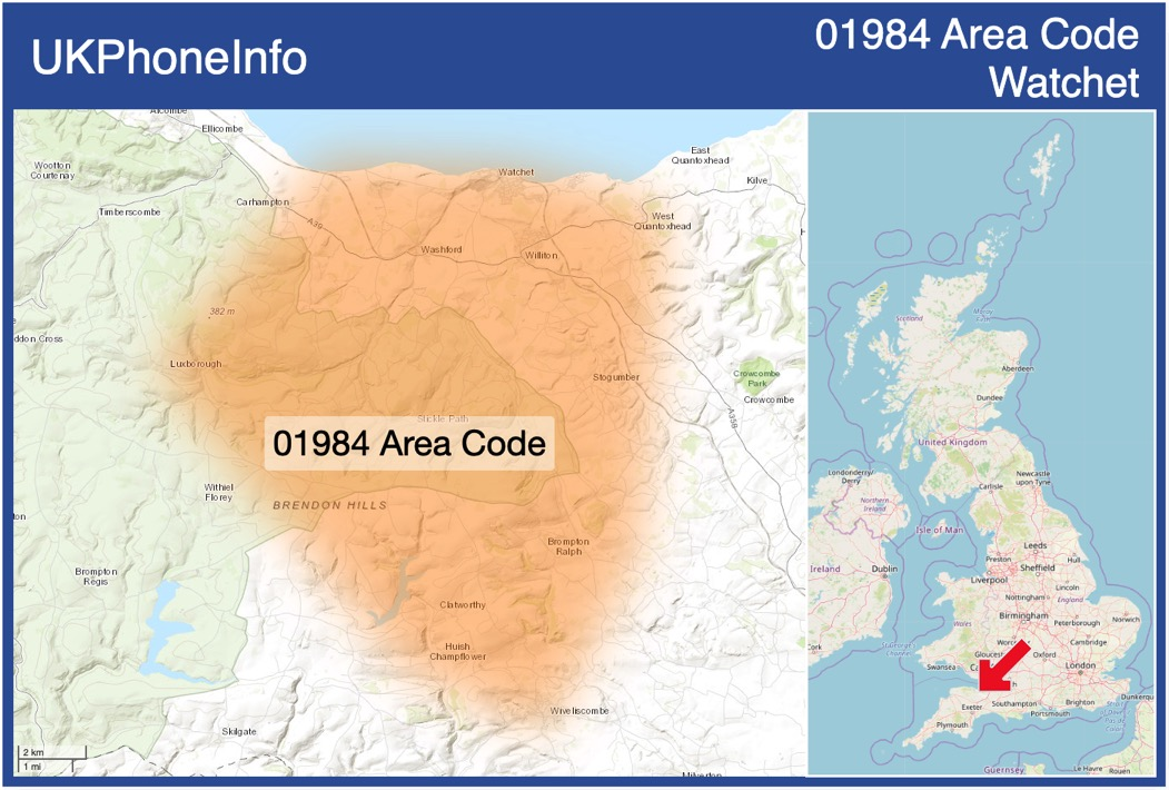 Map of the 01984 area code