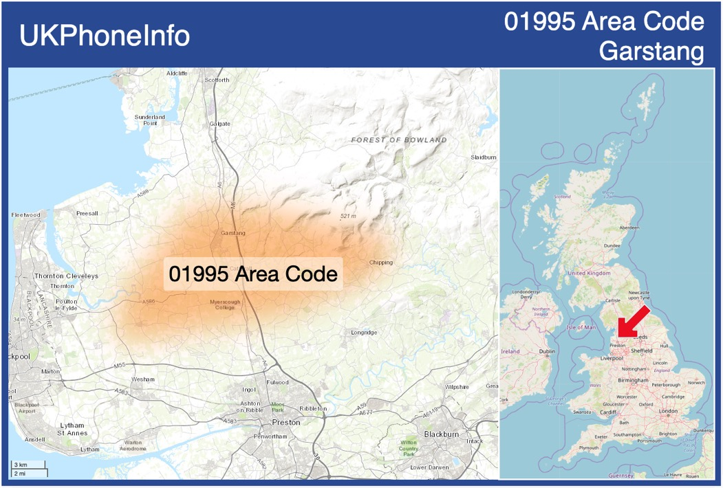 Map of the 01995 area code