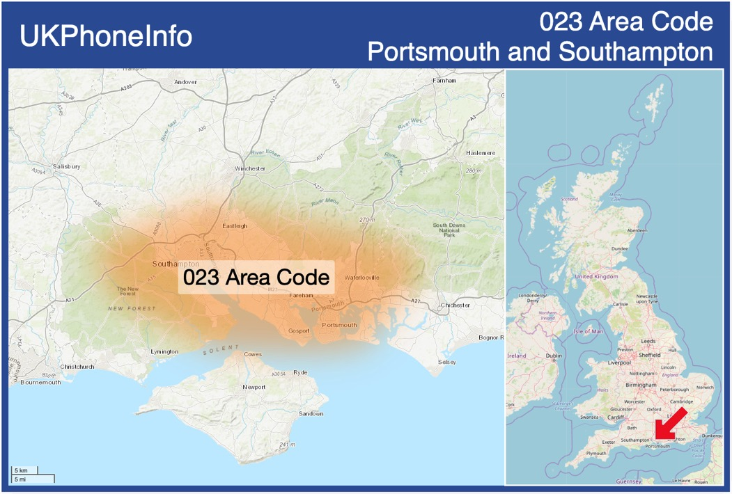 Map of the 023 area code