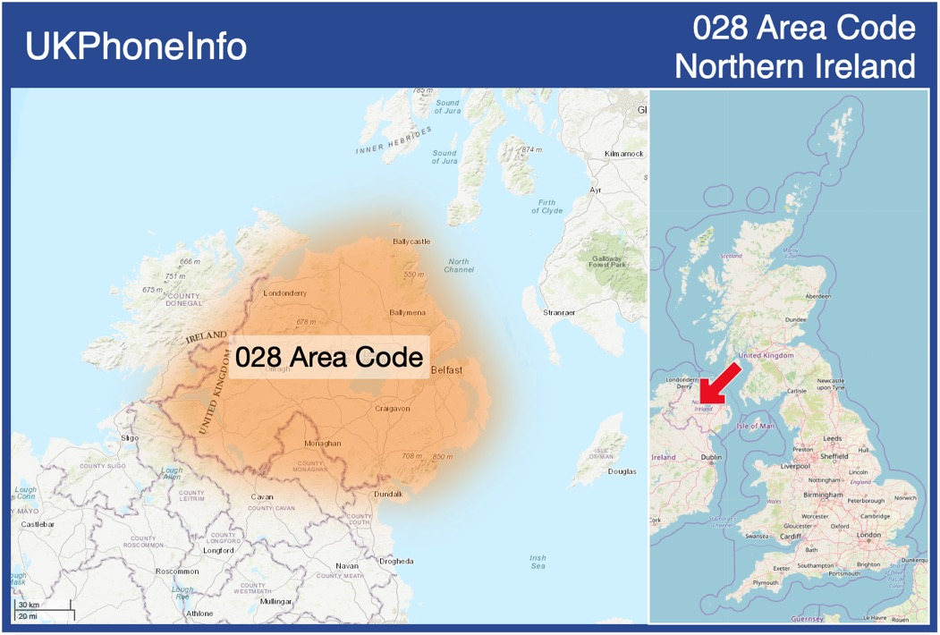 Map of the 028 area code